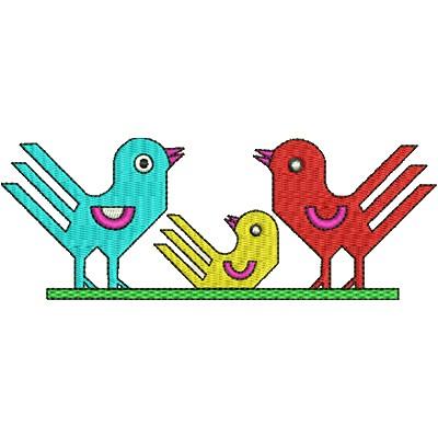 Aufnäher Vögeli Gruppe midi
